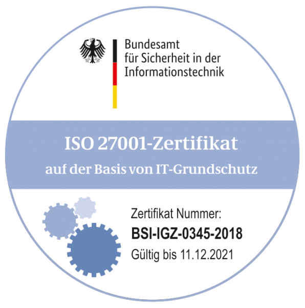 Certification according to ISO/IEC 27001 for our services